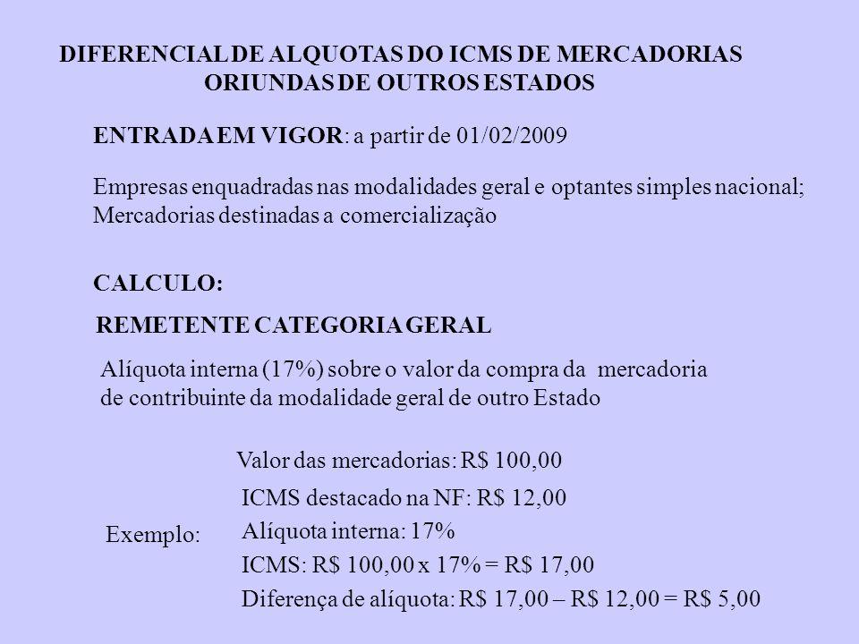 DIFERENCIAL DE ALQUOTAS DO ICMS DE MERCADORIAS ORIUNDAS DE OUTROS ESTADOS Exemplo: ENTRADA EM VIGOR: a partir de 01/02/2009 Empresas enquadradas nas m