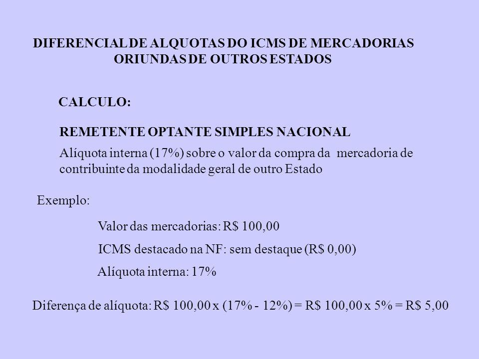 Diferença de alíquota: R$ 100,00 x (17% - 12%) = R$ 100,00 x 5% = R$ 5,00 REMETENTE OPTANTE SIMPLES NACIONAL Alíquota interna (17%) sobre o valor da c