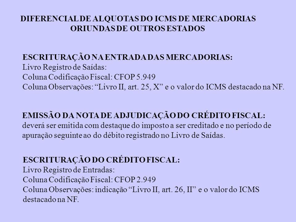 ESCRITURAÇÃO NA ENTRADA DAS MERCADORIAS: Livro Registro de Saídas: Coluna Codificação Fiscal: CFOP 5.949 Coluna Observações: Livro II, art. 25, X e o