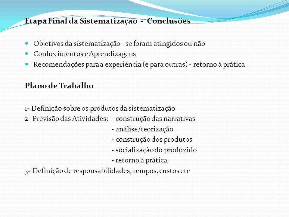 Etapa Final da Sistematização - Conclusões Objetivos da sistematização - se foram atingidos ou não Conhecimentos e Aprendizagens Recomendações para a