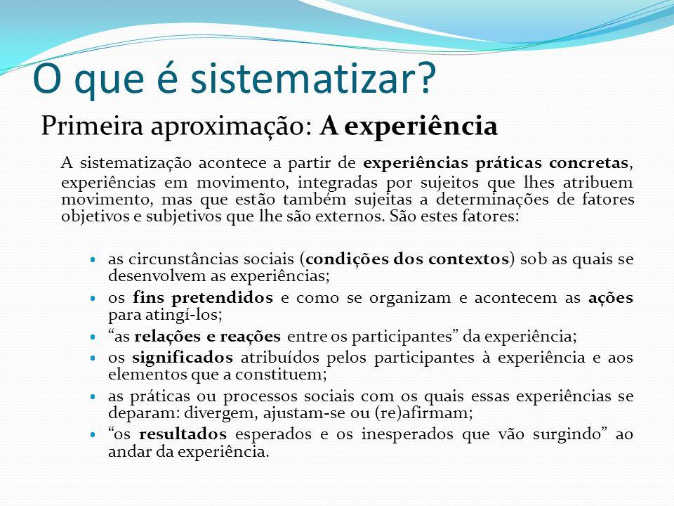 O que é sistematizar? Primeira aproximação: A experiência A sistematização acontece a partir de experiências práticas concretas, experiências em movim