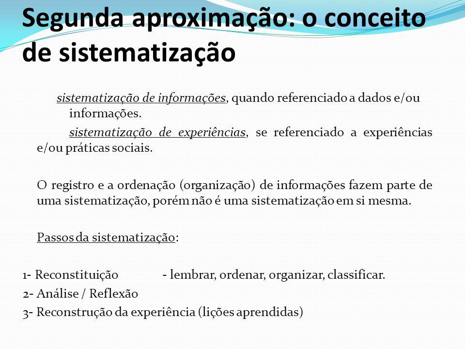 Segunda aproximação: o conceito de sistematização sistematização de informações, quando referenciado a dados e/ou informações. sistematização de exper