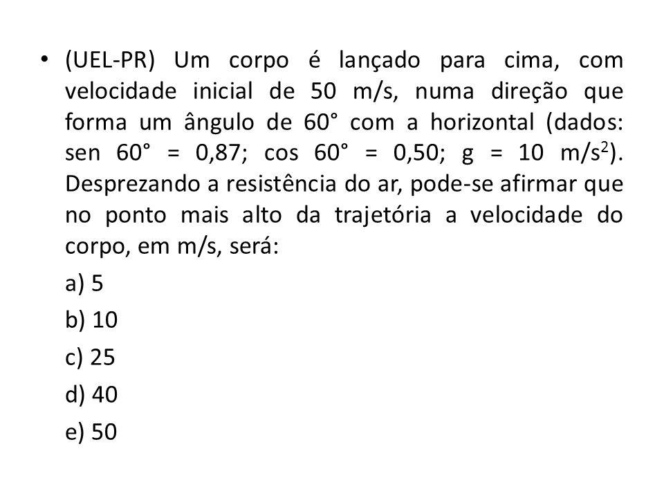 (UEL-PR) Um corpo é lançado para cima, com velocidade inicial de 50 m/s, numa direção que forma um ângulo de 60° com a horizontal (dados: sen 60° = 0,