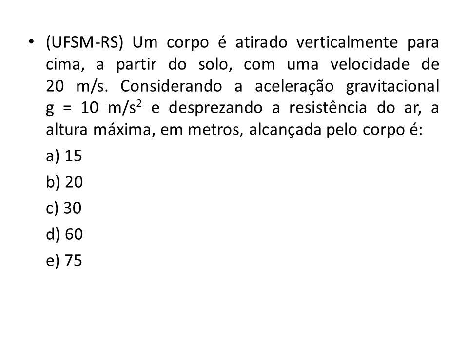 (UFSM-RS) Um corpo é atirado verticalmente para cima, a partir do solo, com uma velocidade de 20 m/s.