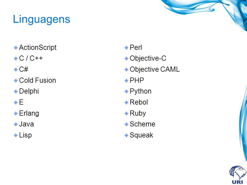 Linguagens ActionScript C / C++ C# Cold Fusion Delphi E Erlang Java Lisp Perl Objective-C Objective CAML PHP Python Rebol Ruby Scheme Squeak