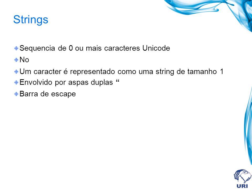 Strings Sequencia de 0 ou mais caracteres Unicode No Um caracter é representado como uma string de tamanho 1 Envolvido por aspas duplas Barra de escape