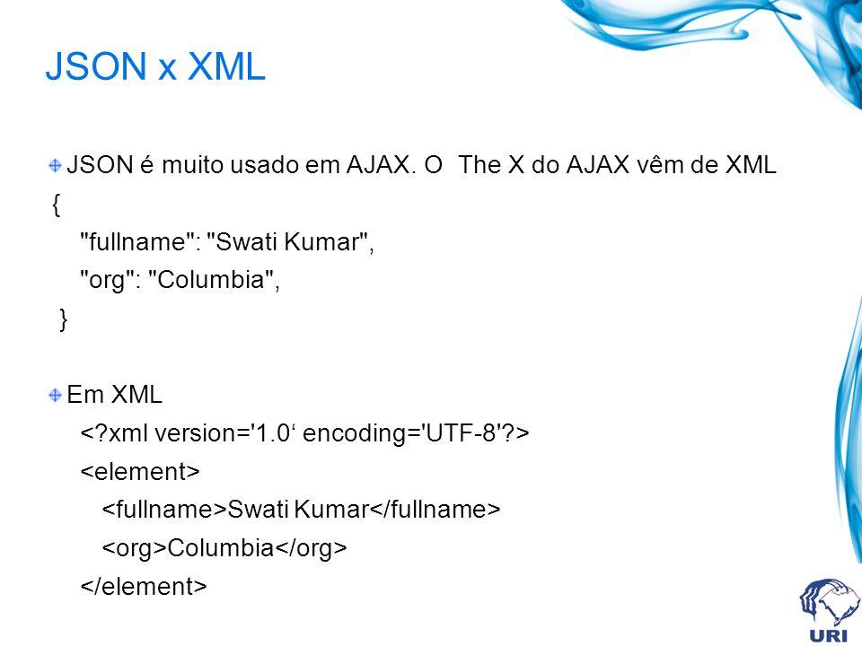 JSON x XML JSON é muito usado em AJAX. O The X do AJAX vêm de XML {
