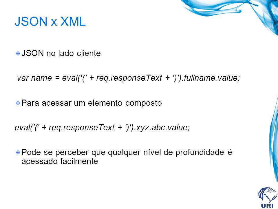 JSON x XML JSON no lado cliente var name = eval( ( + req.responseText + ) ).fullname.value; Para acessar um elemento composto eval( ( + req.responseText + ) ).xyz.abc.value; Pode-se perceber que qualquer nível de profundidade é acessado facilmente