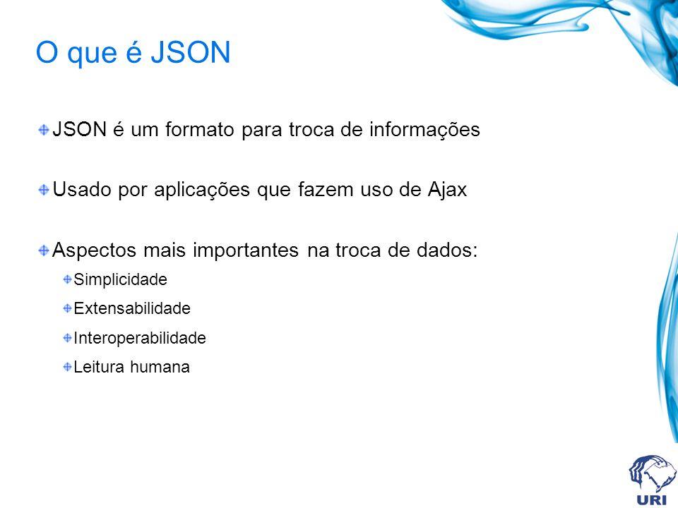 O que é JSON JSON é um formato para troca de informações Usado por aplicações que fazem uso de Ajax Aspectos mais importantes na troca de dados: Simplicidade Extensabilidade Interoperabilidade Leitura humana
