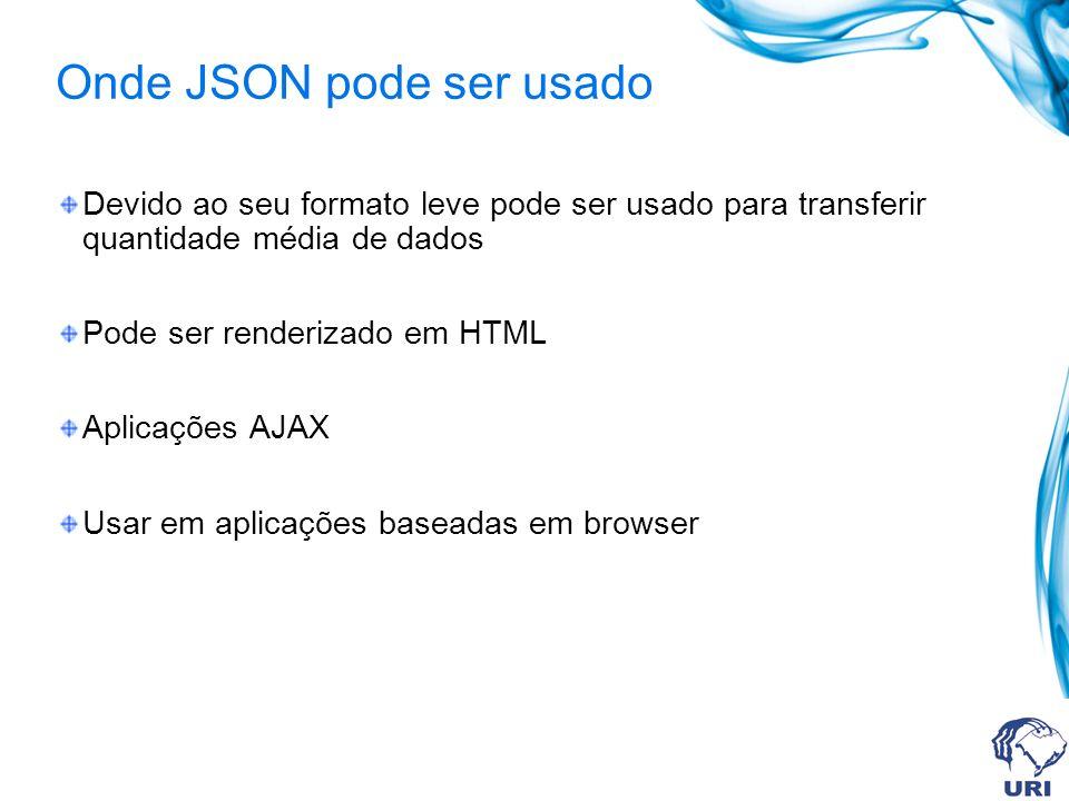 Onde JSON pode ser usado Devido ao seu formato leve pode ser usado para transferir quantidade média de dados Pode ser renderizado em HTML Aplicações AJAX Usar em aplicações baseadas em browser
