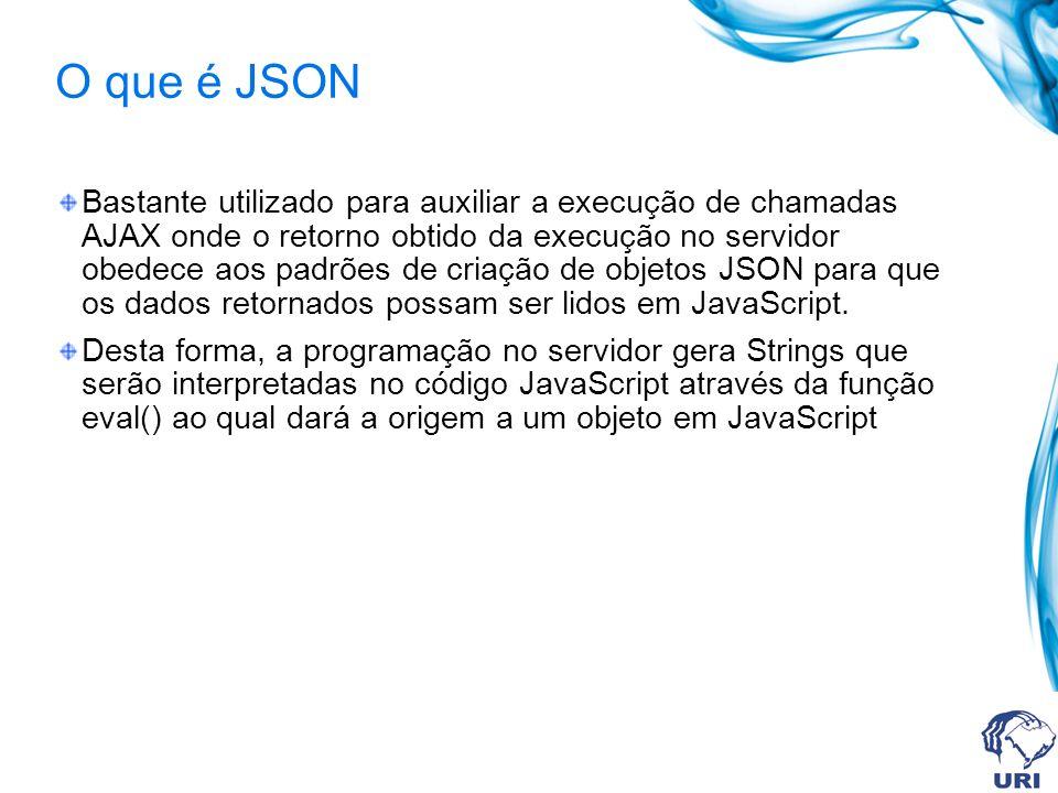 O que é JSON Bastante utilizado para auxiliar a execução de chamadas AJAX onde o retorno obtido da execução no servidor obedece aos padrões de criação de objetos JSON para que os dados retornados possam ser lidos em JavaScript.