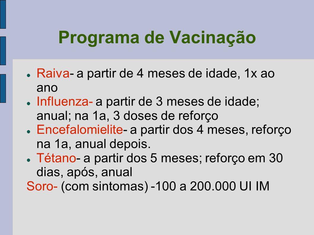 Programa de Vacinação Raiva- a partir de 4 meses de idade, 1x ao ano Influenza- a partir de 3 meses de idade; anual; na 1a, 3 doses de reforço Encefal