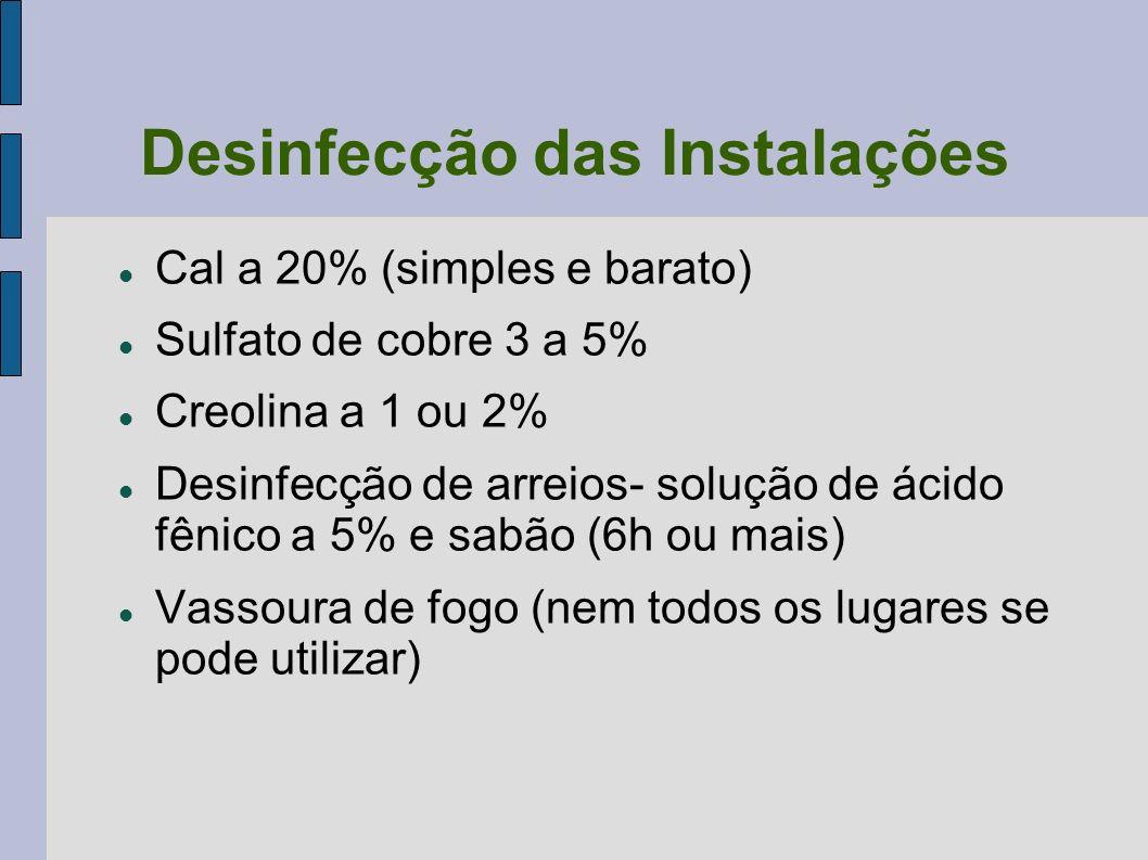 Desinfecção das Instalações Cal a 20% (simples e barato) Sulfato de cobre 3 a 5% Creolina a 1 ou 2% Desinfecção de arreios- solução de ácido fênico a