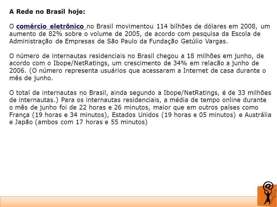 A Rede no Brasil hoje: O comércio eletrônico no Brasil movimentou 114 bilhões de dólares em 2008, um aumento de 82% sobre o volume de 2005, de acordo