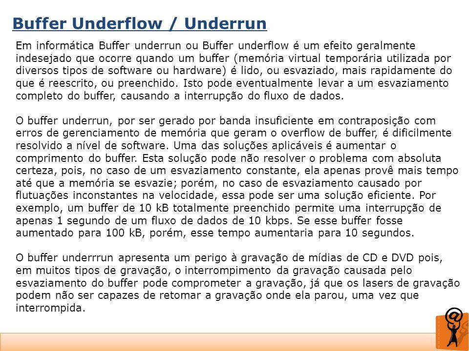 Buffer Underflow / Underrun Em informática Buffer underrun ou Buffer underflow é um efeito geralmente indesejado que ocorre quando um buffer (memória