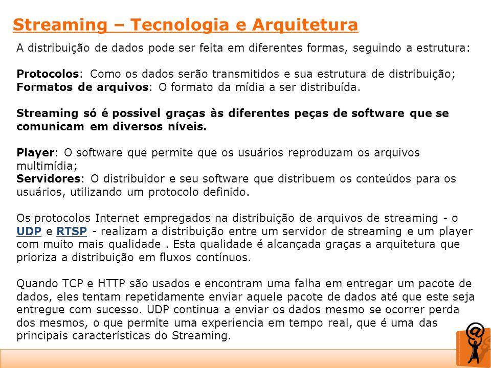 Streaming – Tecnologia e Arquitetura A distribuição de dados pode ser feita em diferentes formas, seguindo a estrutura: Protocolos: Como os dados serã