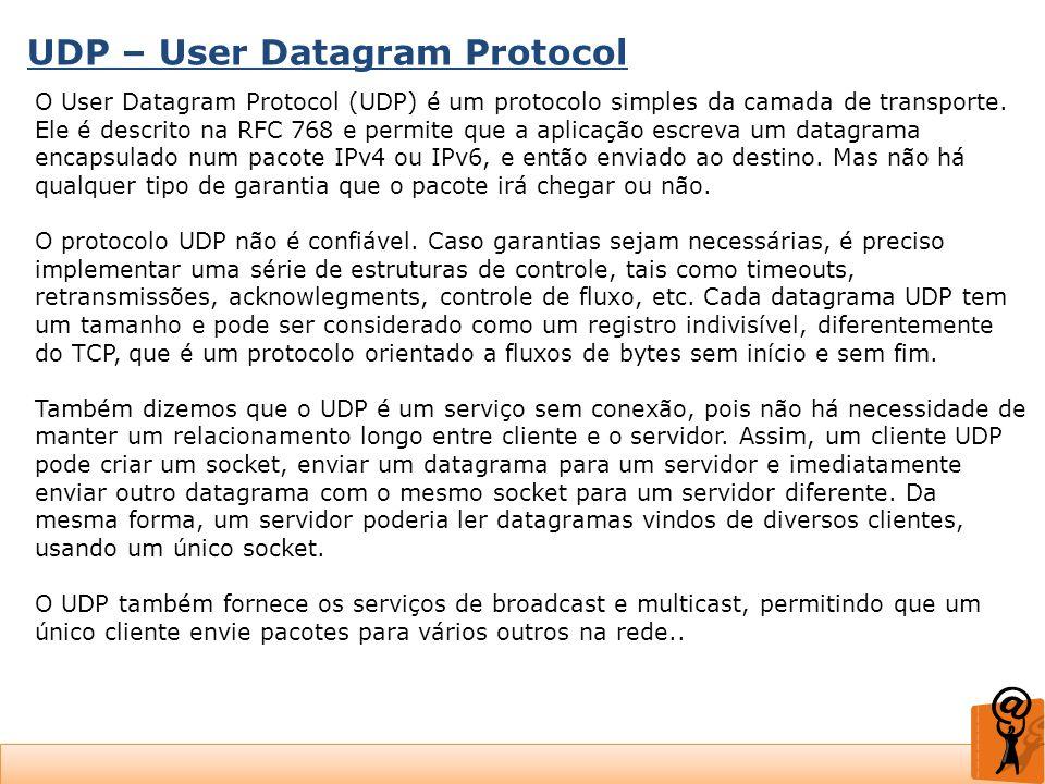 UDP – User Datagram Protocol O User Datagram Protocol (UDP) é um protocolo simples da camada de transporte. Ele é descrito na RFC 768 e permite que a