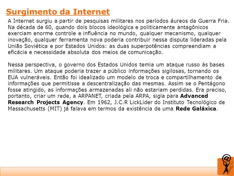 Surgimento da Internet A Internet surgiu a partir de pesquisas militares nos períodos áureos da Guerra Fria. Na década de 60, quando dois blocos ideol