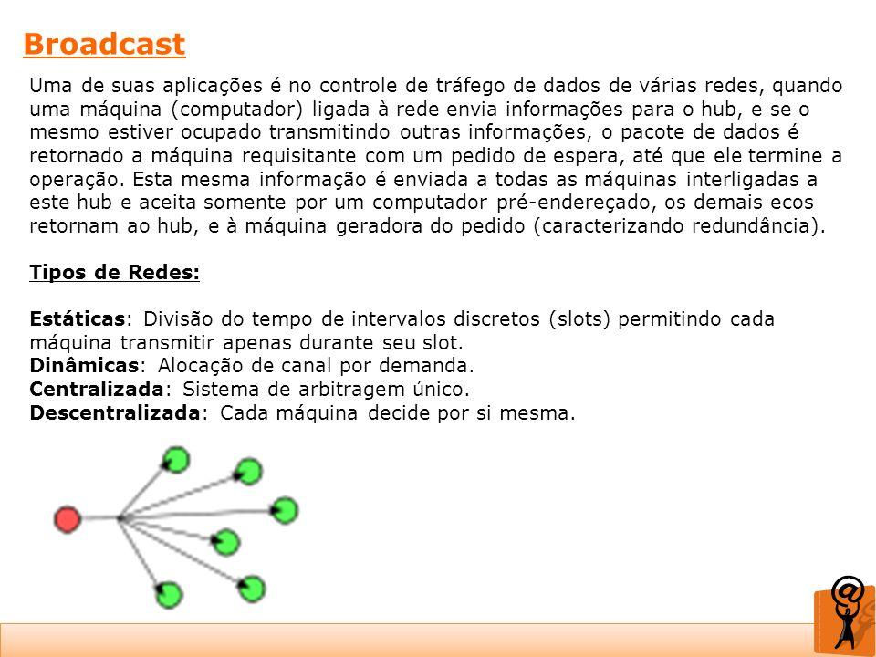 Broadcast Uma de suas aplicações é no controle de tráfego de dados de várias redes, quando uma máquina (computador) ligada à rede envia informações pa