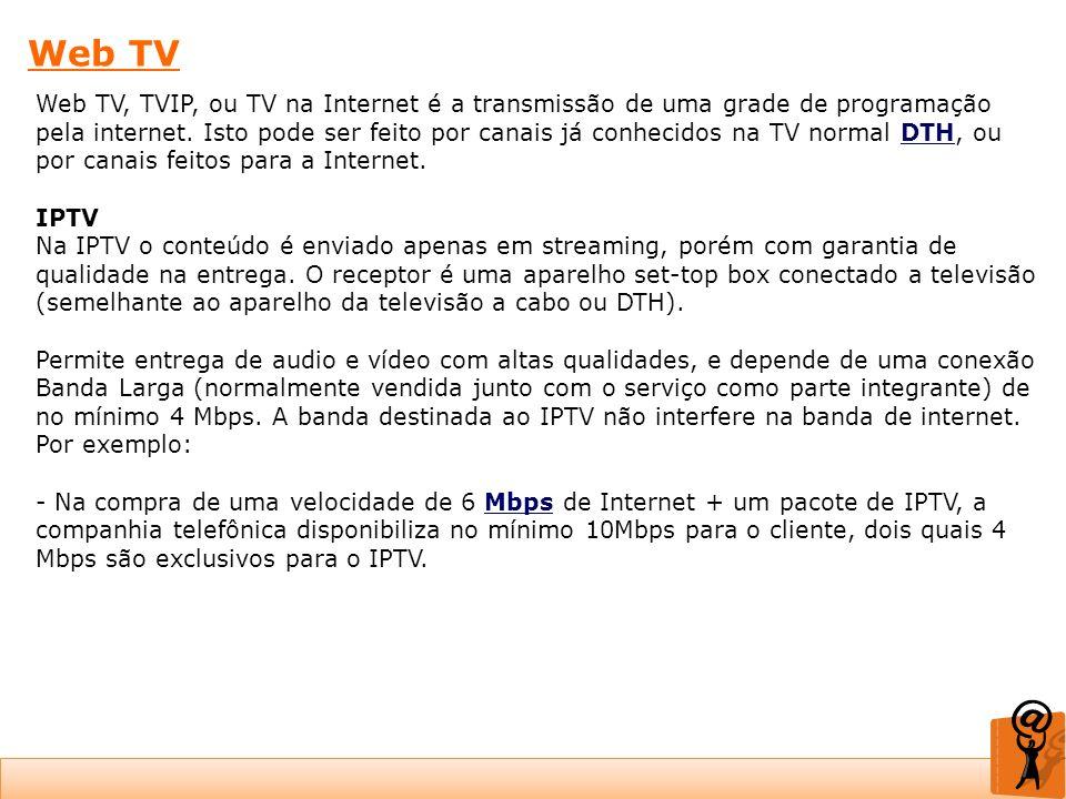 Web TV Web TV, TVIP, ou TV na Internet é a transmissão de uma grade de programação pela internet. Isto pode ser feito por canais já conhecidos na TV n