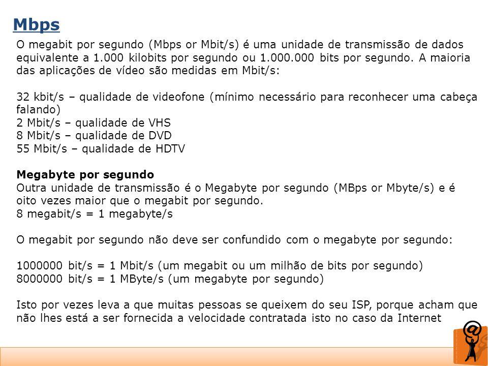 Mbps O megabit por segundo (Mbps or Mbit/s) é uma unidade de transmissão de dados equivalente a 1.000 kilobits por segundo ou 1.000.000 bits por segun