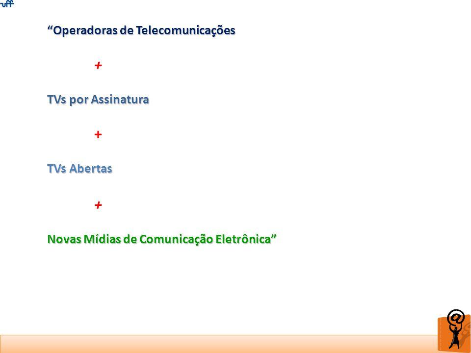 Operadoras de Telecomunicações + TVs por Assinatura + TVs Abertas + Novas Mídias de Comunicação Eletrônica