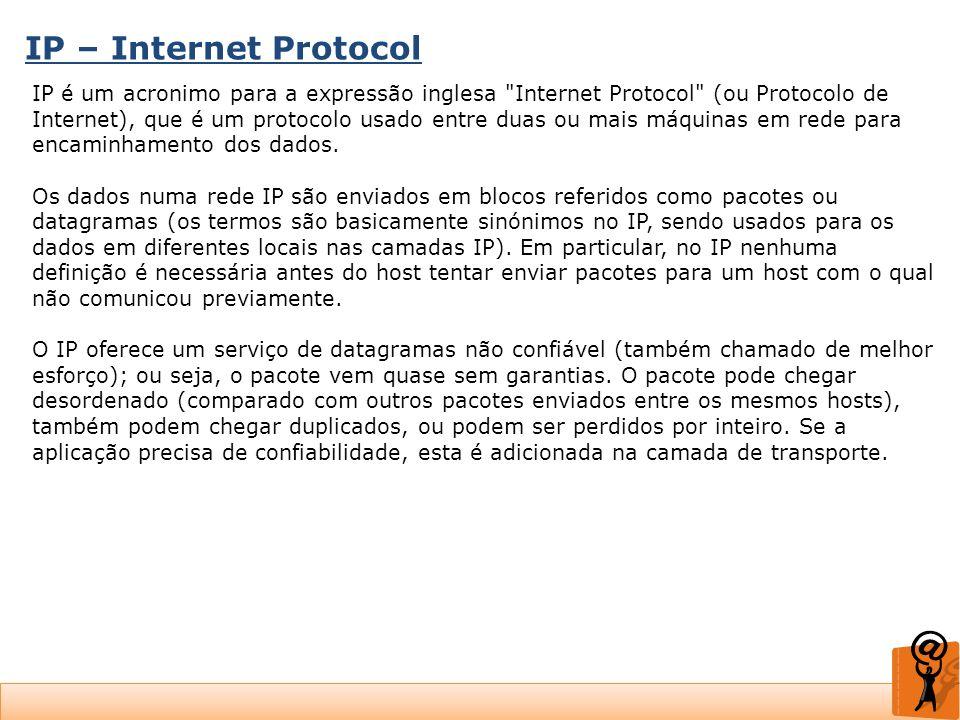 IP – Internet Protocol IP é um acronimo para a expressão inglesa
