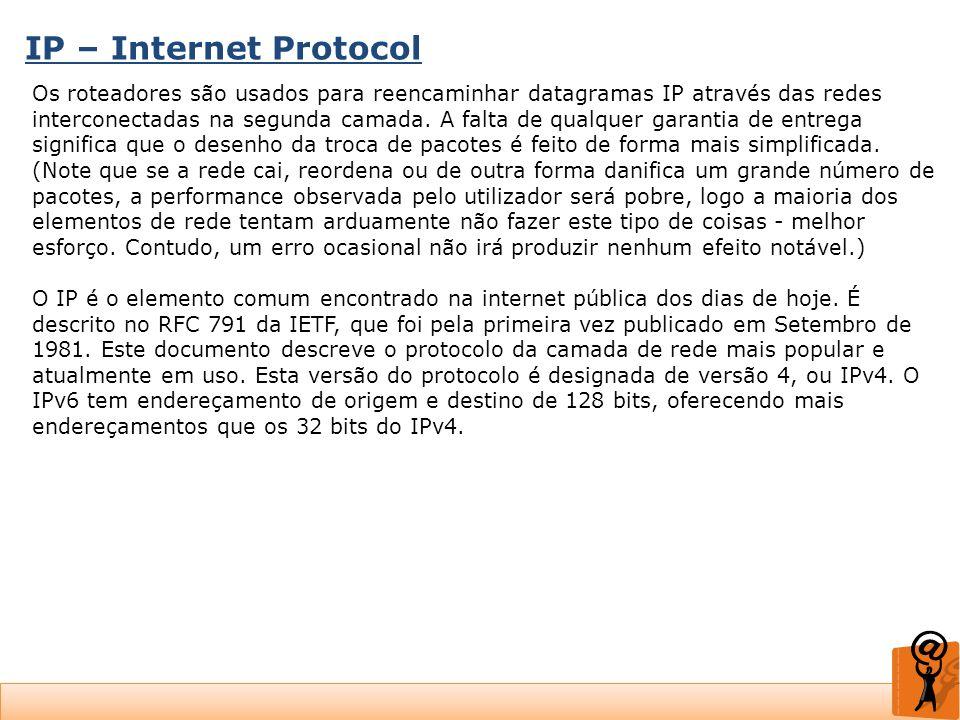 IP – Internet Protocol Os roteadores são usados para reencaminhar datagramas IP através das redes interconectadas na segunda camada. A falta de qualqu