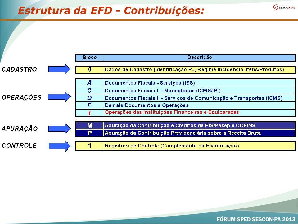 Estrutura da EFD - Contribuições: