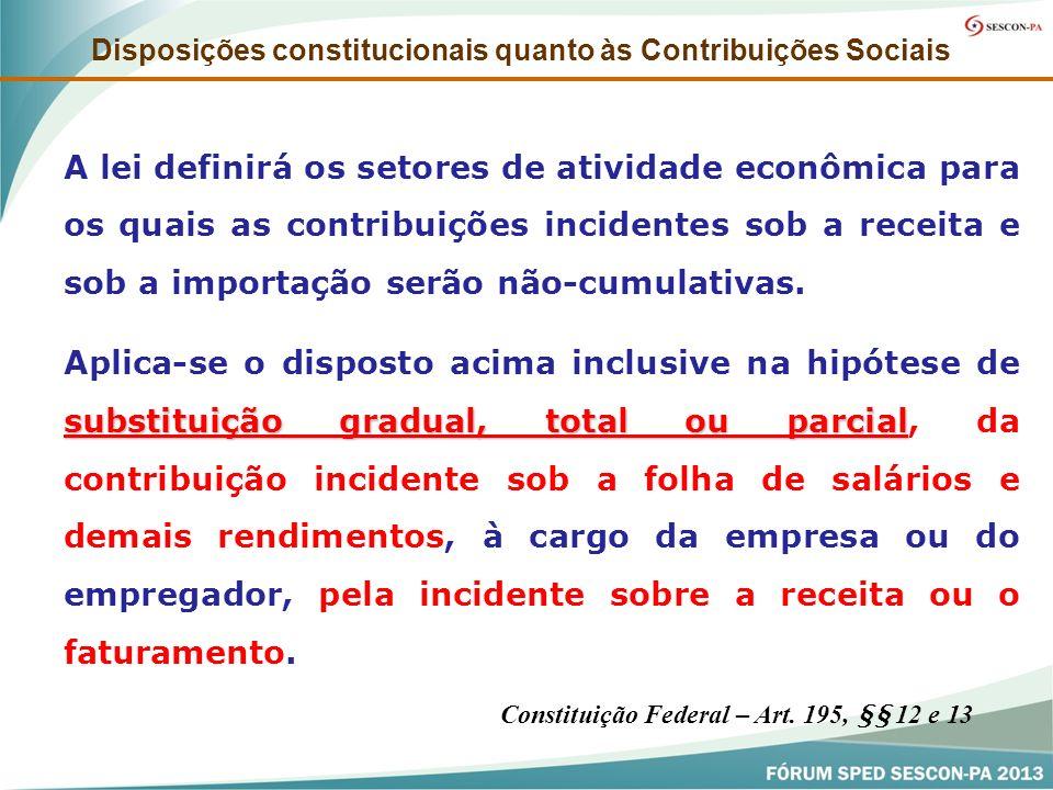 A lei definirá os setores de atividade econômica para os quais as contribuições incidentes sob a receita e sob a importação serão não-cumulativas. sub