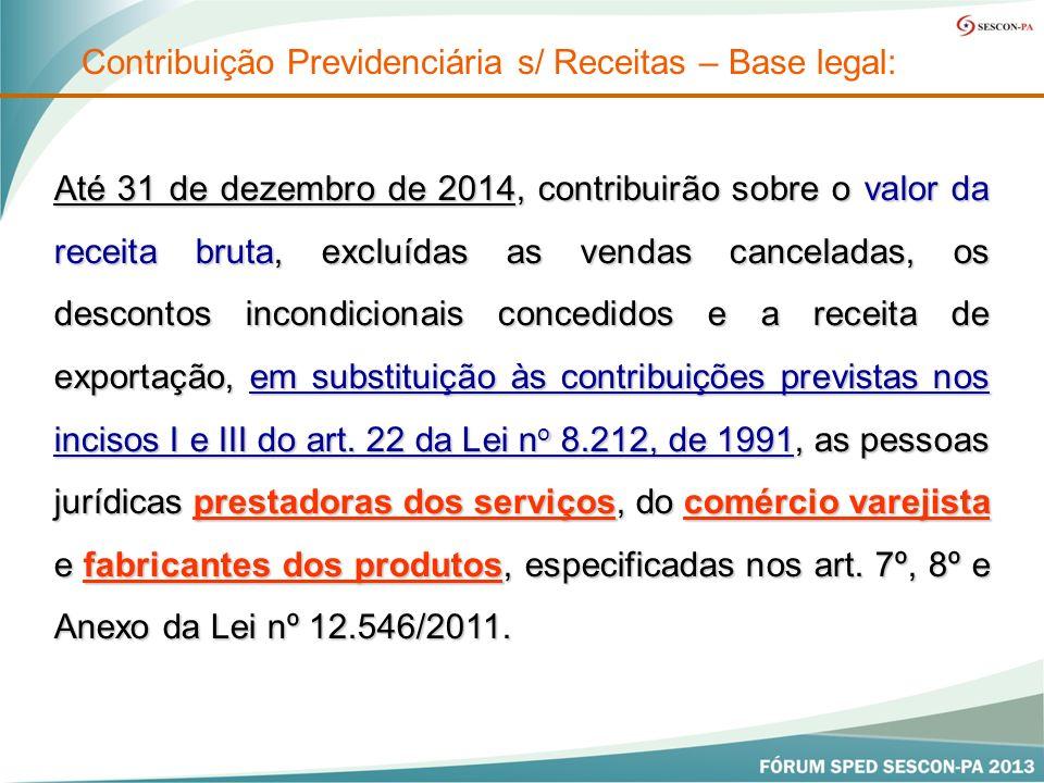 Até 31 de dezembro de 2014, contribuirão sobre o valor da receita bruta, excluídas as vendas canceladas, os descontos incondicionais concedidos e a receita de exportação, em substituição às contribuições previstas nos incisos I e III do art.