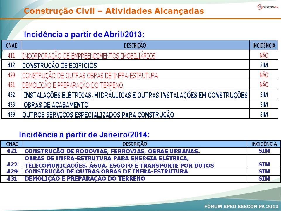 Incidência a partir de Abril/2013: Construção Civil – Atividades Alcançadas Incidência a partir de Janeiro/2014: