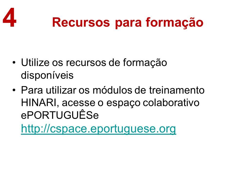 Recursos para formação Utilize os recursos de formação disponíveis Para utilizar os módulos de treinamento HINARI, acesse o espaço colaborativo ePORTUGUÊSe http://cspace.eportuguese.org http://cspace.eportuguese.org 4