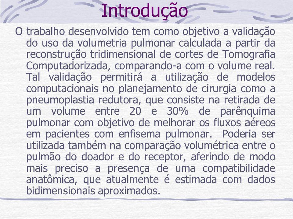 Introdução O trabalho desenvolvido tem como objetivo a validação do uso da volumetria pulmonar calculada a partir da reconstrução tridimensional de co
