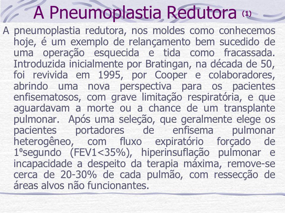 A Pneumoplastia Redutora (1) A pneumoplastia redutora, nos moldes como conhecemos hoje, é um exemplo de relançamento bem sucedido de uma operação esqu