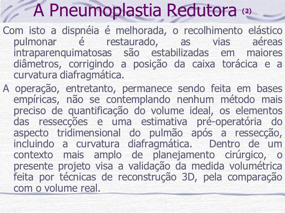 A Pneumoplastia Redutora (2) Com isto a dispnéia é melhorada, o recolhimento elástico pulmonar é restaurado, as vias aéreas intraparenquimatosas são e