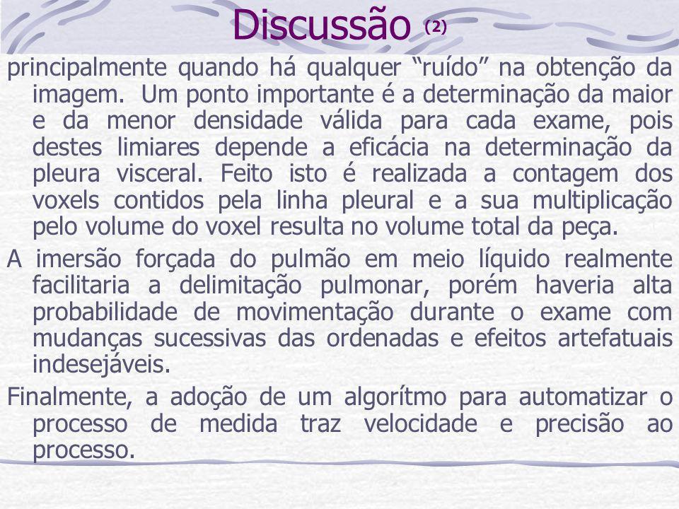 Discussão (2) principalmente quando há qualquer ruído na obtenção da imagem. Um ponto importante é a determinação da maior e da menor densidade válida