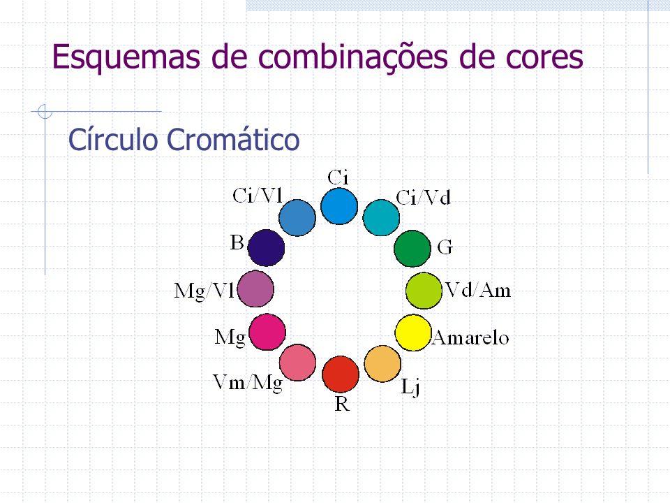 Esquemas de combinações de cores Círculo Cromático