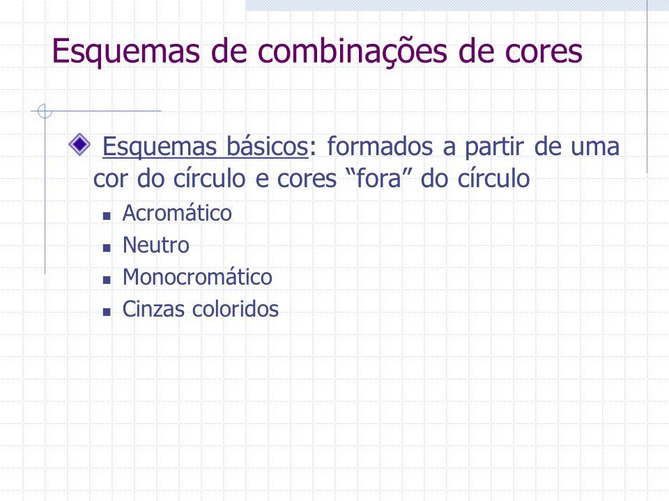 Esquemas de combinações de cores Esquemas básicos: formados a partir de uma cor do círculo e cores fora do círculo Acromático Neutro Monocromático Cinzas coloridos