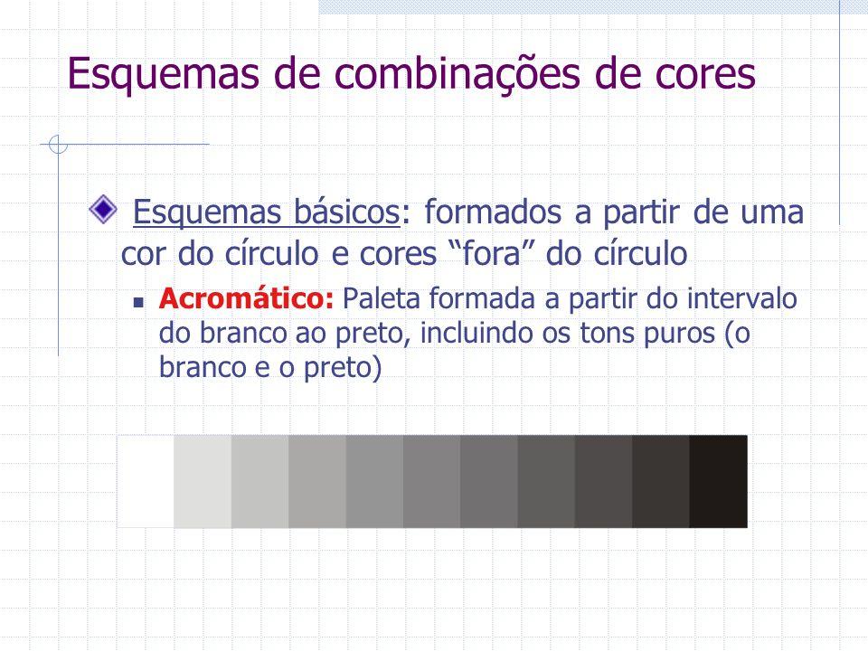 Esquemas de combinações de cores Esquemas básicos: formados a partir de uma cor do círculo e cores fora do círculo Acromático: Paleta formada a partir do intervalo do branco ao preto, incluindo os tons puros (o branco e o preto)
