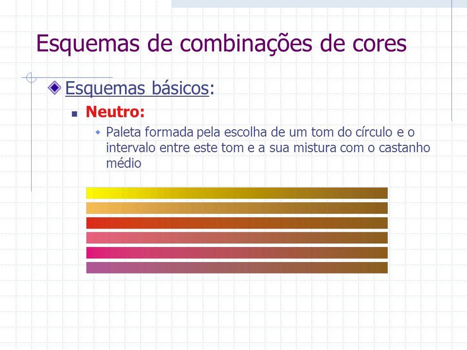 Esquemas de combinações de cores Esquemas básicos: Neutro: Paleta formada pela escolha de um tom do círculo e o intervalo entre este tom e a sua mistura com o castanho médio