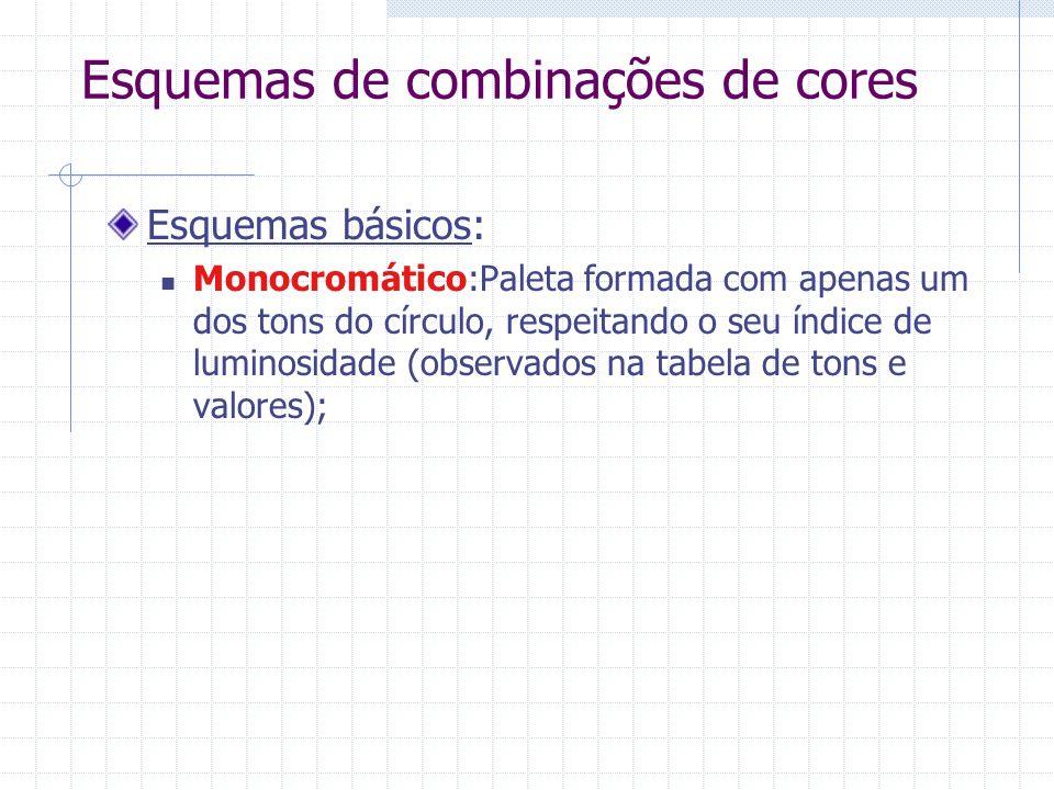 Esquemas de combinações de cores Esquemas básicos: Monocromático:Paleta formada com apenas um dos tons do círculo, respeitando o seu índice de luminosidade (observados na tabela de tons e valores);