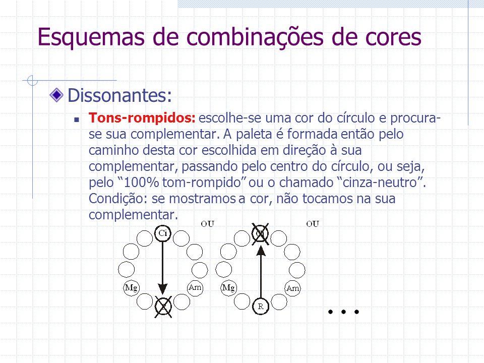 Esquemas de combinações de cores Dissonantes: Tons-rompidos: escolhe-se uma cor do círculo e procura- se sua complementar. A paleta é formada então pe