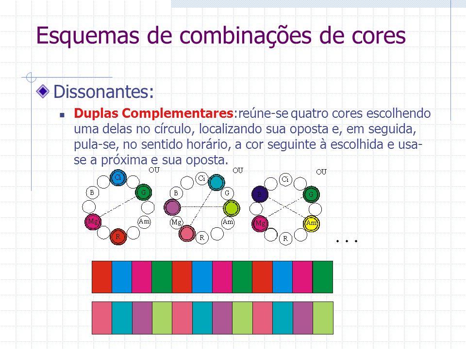 Esquemas de combinações de cores Dissonantes: Duplas Complementares:reúne-se quatro cores escolhendo uma delas no círculo, localizando sua oposta e, em seguida, pula-se, no sentido horário, a cor seguinte à escolhida e usa- se a próxima e sua oposta.