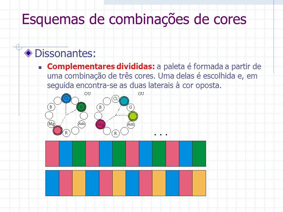 Esquemas de combinações de cores Dissonantes: Complementares divididas: a paleta é formada a partir de uma combinação de três cores. Uma delas é escol