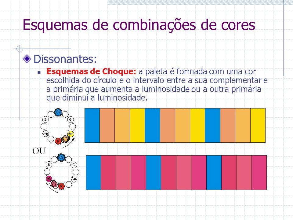 Esquemas de combinações de cores Dissonantes: Esquemas de Choque: a paleta é formada com uma cor escolhida do círculo e o intervalo entre a sua complementar e a primária que aumenta a luminosidade ou a outra primária que diminui a luminosidade.