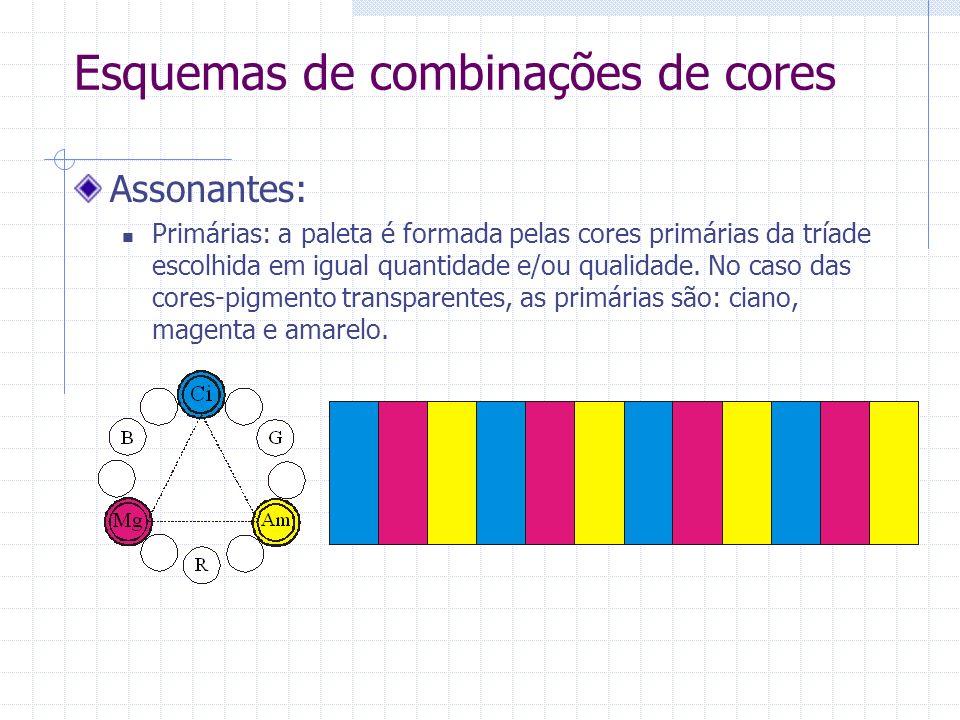 Esquemas de combinações de cores Assonantes: Primárias: a paleta é formada pelas cores primárias da tríade escolhida em igual quantidade e/ou qualidade.