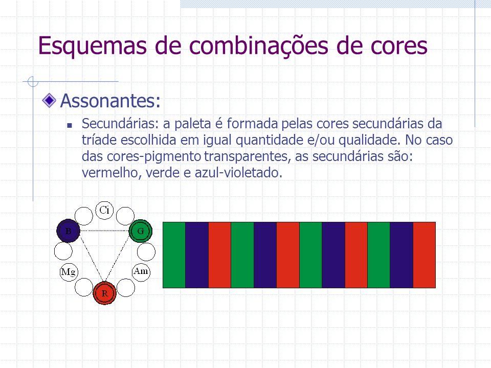 Esquemas de combinações de cores Assonantes: Secundárias: a paleta é formada pelas cores secundárias da tríade escolhida em igual quantidade e/ou qualidade.