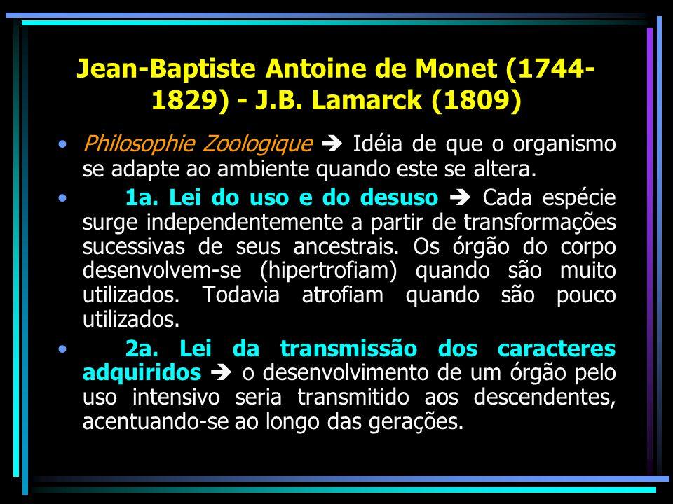Jean-Baptiste Antoine de Monet (1744- 1829) - J.B. Lamarck (1809) Philosophie Zoologique Idéia de que o organismo se adapte ao ambiente quando este se