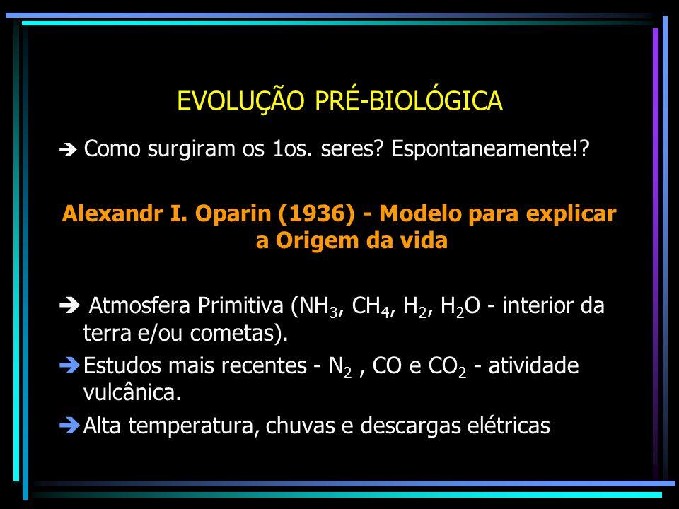EVOLUÇÃO PRÉ-BIOLÓGICA Como surgiram os 1os. seres? Espontaneamente!? Alexandr I. Oparin (1936) - Modelo para explicar a Origem da vida Atmosfera Prim